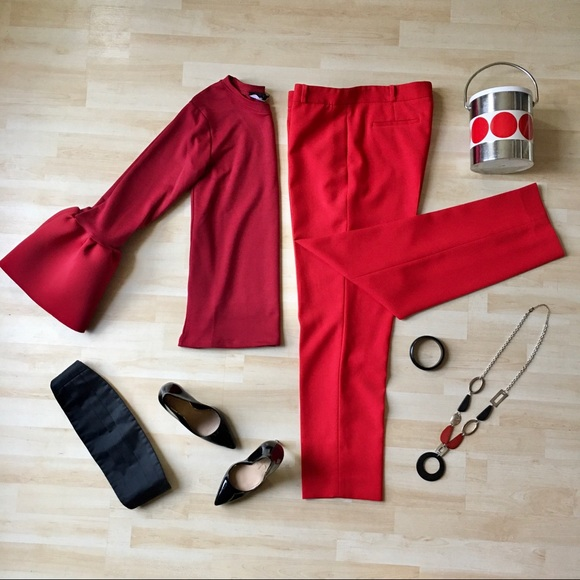 Anne Klein fire engine red dress pants trousers 10